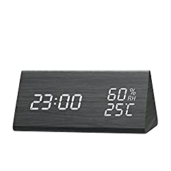 Digital Alarm Clock, [2018 NEW] Wooden Alarm Clock with Triple Alarms Setting, 3 Levels Brightness Dimmer, Dual Time (12/24) Mode, Temperature and Humidity LED Digital Clock for Home Bedrooms
