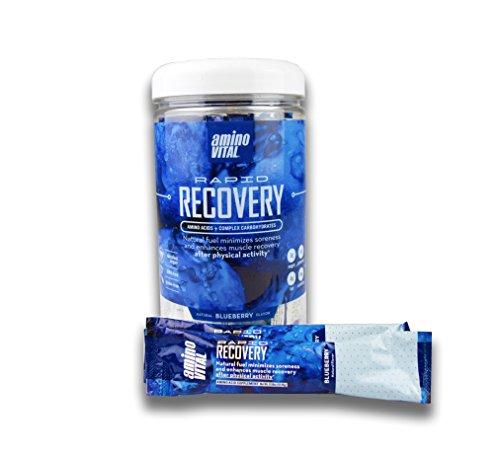 Amino VITAL Rapid Recovery – Vegan Amino Acid Powder (BCAAs, Glutamine, Arginine) + Complex Carbohydrates – Natural Supplement, Reduce Muscle Soreness, Blueberry, 14 x 16.5g Single-Serve Stick Packs