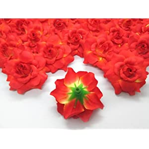 """(100) Silk Orange Roses Flower Head - 1.75"""" - Artificial Flowers Heads Fabric Floral Supplies Wholesale Lot for Wedding Flowers Accessories Make Bridal Hair Clips Headbands Dress 3"""