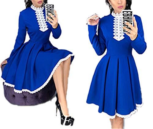 Cheryl Bull Fashion Women Patchwork Lace Dress Fall Casual Crochet Lace A-Line Mini Dresses Blue XXXL -