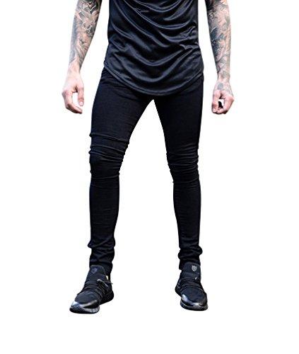 Skinny Byqny Slim Hombre Delgado Para Fit Vaquero Pernera Ajustados Jeans Recta Solido Negro Denim Pantalones WqxUWz1Rn