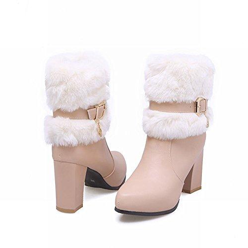 Carolbar Boots Faux Modern Heel Pink Zip Women's Short fur Chic High Buckle 6Sr6wq5