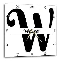 3dRose BrooklynMeme Monograms - Bold Script Monogram W - Weaver - 15x15 Wall Clock (DPP_310062_3)