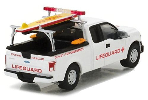 Greenlight 29899 2016 Ford F-150 with Lifeguard Accessories Hobby Exclusive 1/64 Diecast Model - Diecast Guard Car