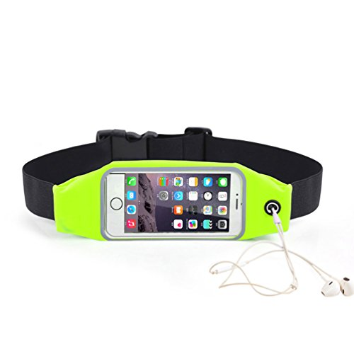 Pochette plátano Tour de talla impermeable bolsa de deporte ESS Tech® para iPhone 6y Samsung S6Edge verde fluorescente