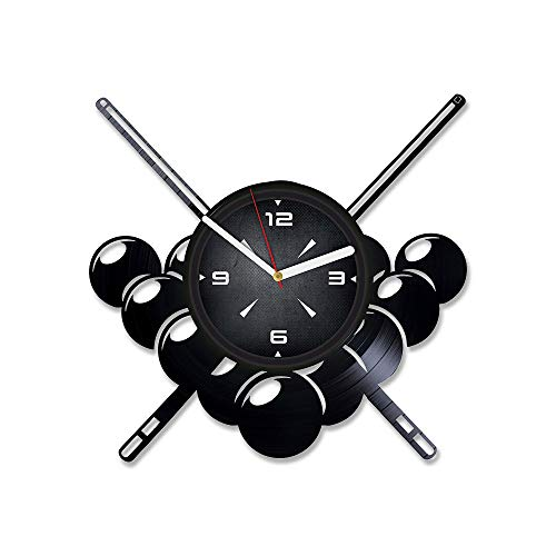 Billiard Vinyl Record Wall Clock. Decor for Bedroom, Living Room, Play Room. Unique Gift for Him or Her. Xmas, Birthday, Holiday, Anniversary, New Home Present.