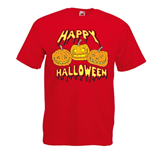 T Shirts for Men Happy Halloween! Party Outfits & Costume - Gift Idea (Small Red Multi Color) ()