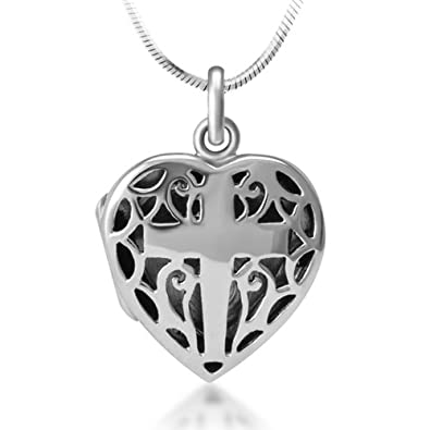 Amazon 925 sterling silver open filigree christian cross heart 925 sterling silver open filigree christian cross heart shaped locket pendant necklace 18 inches aloadofball Image collections