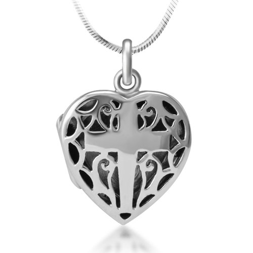 Open Filigree Heart Locket - 3