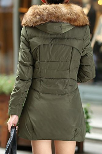 Winter Warm La Collar Casual Furry Long Parkas Zip Quilted Verde Outwear Hoodie Mujer rqw0xq1Y
