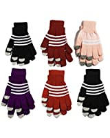 6 Pc Touch Screen Gloves for Smartphones - Assorted Touchscreen Gloves for Women