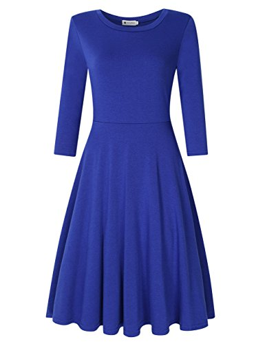 Womens Wedding Guest Dress 3/4 Sleeve Midi Knee Dresses Blue L