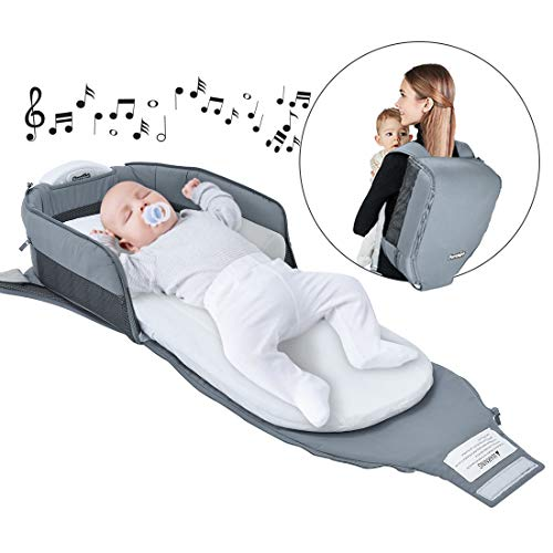4 in 1 | Portable Bassinet | Foldable Baby Bed | with Light and Music Baby Lounger Travel Crib Infant Cot Newborn As A Diaper Bag Changing Station Seat Tummy Time Folding Crib Nursery ()
