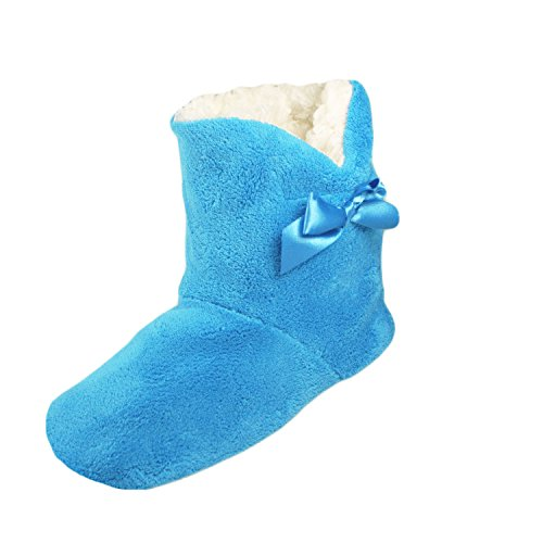 Dame-Mädchen LUXUS SOFT UND COSY TOESTERS HAUSSCHUH STIEFEL Turquoise