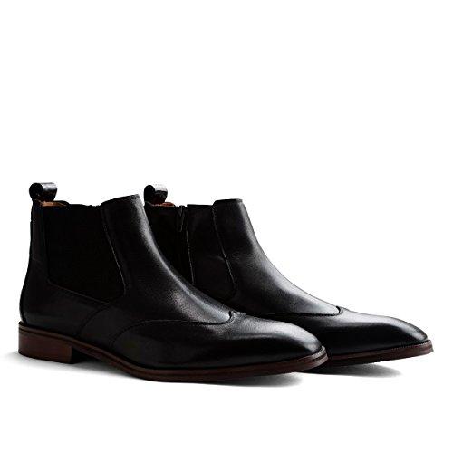 Travelin Linate Chelsea Boots Herren Schwarz | Business Schuhe | Anzugschuhe mit Reißverschluss 42 EU