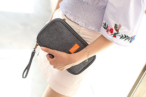 P.travel Waterproof Travel Passport Wallet and Credit Card Holder Ticket Document Bag Small Clutch with Zippered Pockets Carry Money, Tickets, Documents Includes Smartphone Pocket (Gray)