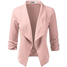 Doublju Womens Casual Work 3/4 Sleeve Open Front Blazer Jacket With Plus Size