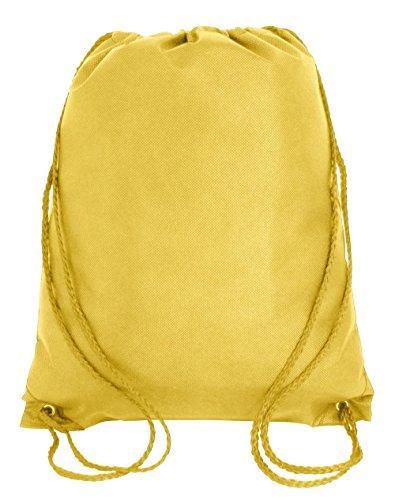 (Drawstring Backpack Cinch Daypack Lightweight Gym Sack Bag Training, Sports, Travel (1, Yellow))