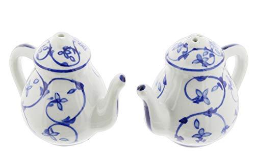 Blue & White Porcelain Salt & Pepper Shaker Set (Tea Pots)