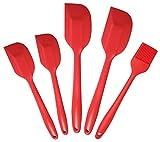 Ouddy Silicone Spatula Set of 5 Cream Silicone Spatula - Hygienic Solid Silicone Design - Premium Silicone Utensils Set - Red - 100% Food Grade Silicone