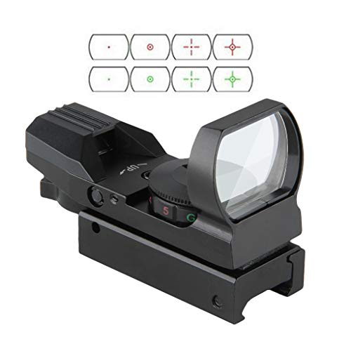 Fyland Tactical Red Dot Sight 4 Reticles Green and Red Reflex Sight for Rifle Gun with Weaver Picatinny Rail Mount (Airsoft Guns With Red Dot Sight)