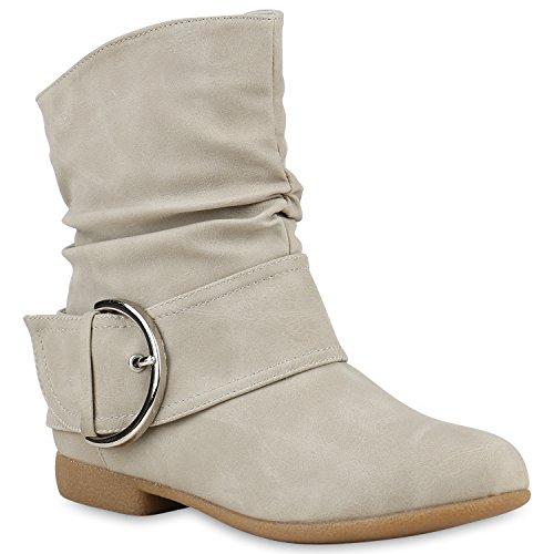 Stiefelparadies Damen Schlupfstiefel Wildleder-Optik Stiefel Schnallen Schuhe Boots Gefütterte Stiefeletten Flandell Creme