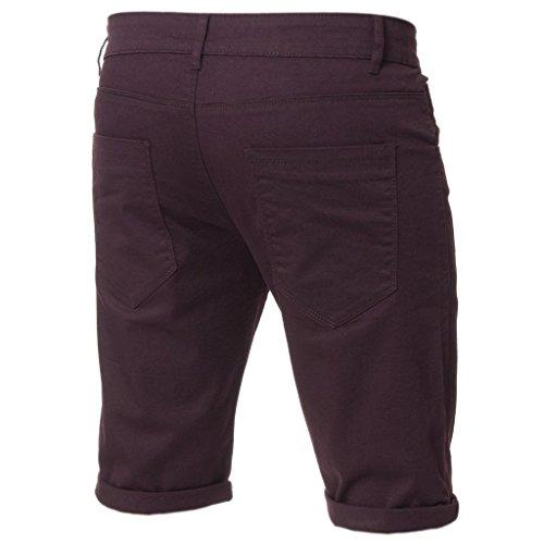 Kruze Herren Chino Shorts markiert Designer Jeans Freizeit blau schwarz rot hellbraun, neu mit Etikett - Weinrot, W38 x Regulär