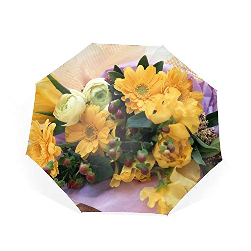 Gerberas Tulips Roses Bouquet Compact Travel Umbrella - Windproof,Auto - Gerbera Tulip Bouquet
