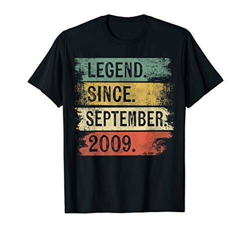 Legend Since September 2009 10th Birthday Gifts 10 Year Old T-Shirt (Birthday Presents For Ten Year Old Boy)