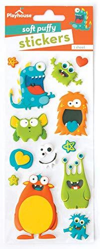 Playhouse Silly Monsters Soft Puffy 13-Piece Sticker Sheet (Monster Sticker Sheet)