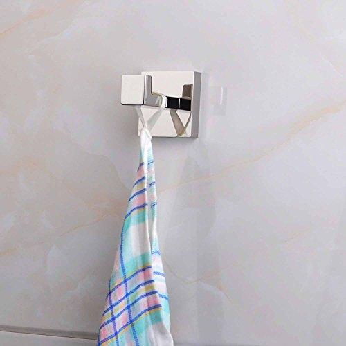 ThinkTop 5pcs Luxury 304 Stainless Steel Bathroom Single Towel Hook Robe Chrome Wall Mount Coat Hat Door Hook Hanger Mirror Polished Bathroom Accessories by ThinkTop (Image #4)