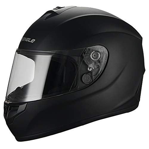Triangle Matte Black Full Face Lightweight, Aerodynamic, Comfortable Street Bike Motorcycle Helmet Unisex Adult DOT Approved (X-Large, Matte Black) ... (Best Ventilated Full Face Motorcycle Helmet)