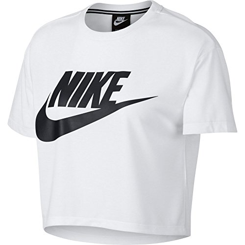 NIKE Womens Essential Short Sleeve Crop Top T-Shirt White/Black AA3144-100 Size Small