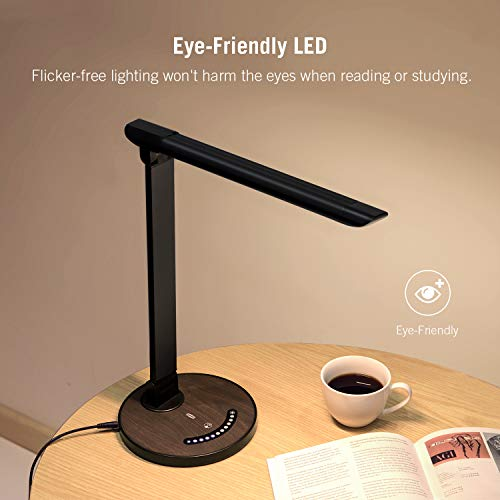 Dimmable office lamp with USB charging port