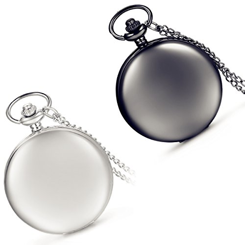 Lancardo Smooth Metal Arabic Numbers Modern Pocket Watch with Chain