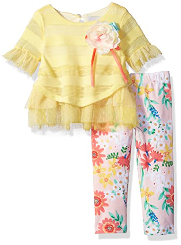 Girls Rare Editions (Rare Editions Baby Girls' Mesh to Knit Legging Set, Butter/Multi, 24M)