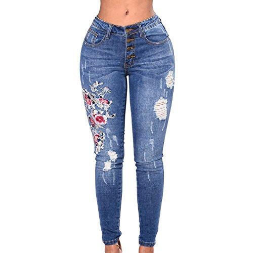 Haute Élégant Rose Imprimé Femme Collant Crayon Petalum Jeans Pantalons Taille Legging xFnfAw