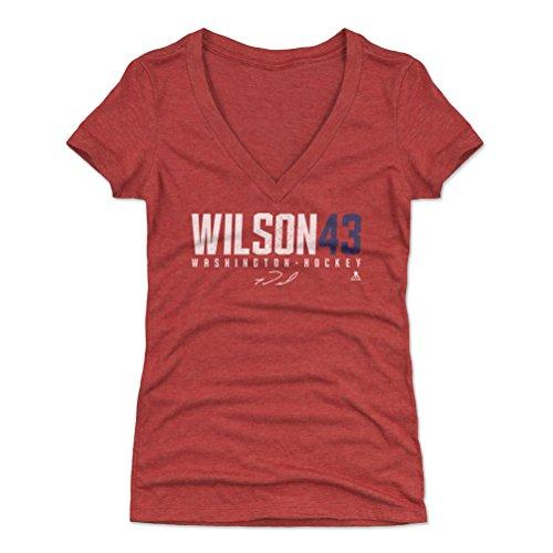 500 LEVEL Tom Wilson Women's V-Neck Shirt (Small, Tri Red) - Washington Capitals Shirt for Women - Tom Wilson Wilson43 W WHT