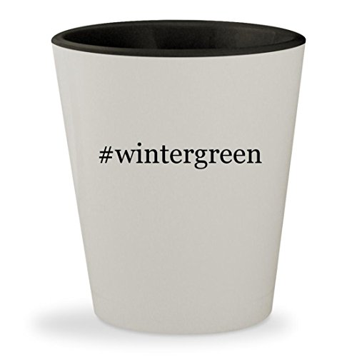 #wintergreen - Hashtag White Outer & Black Inner Ceramic 1.5oz Shot Glass - Certs Mint Candy
