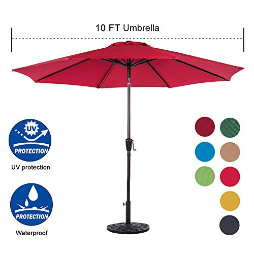Sundale Outdoor 10 Feet Aluminum Market Umbrella Table Umbrella with Crank and Auto Tilt for Patio, Garden, Deck, Backyard, Pool, 8 Alu. Ribs, 100% Polyester Canopy (Red) 100 Patio Umbrella