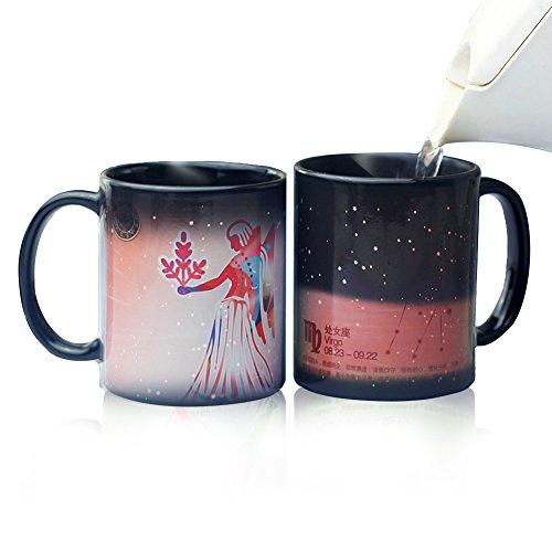 LanMa Heat Changing Constellation Mug 12 Constellation Colored Mugs Novelty Heat Sensitive Mug Morning Ceramic Coffee Cup