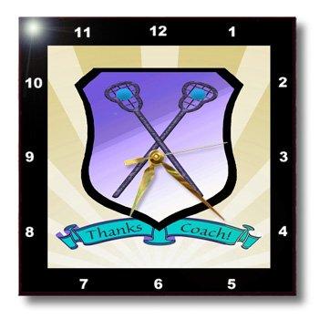 dpp_180874_3 Beverly Turner Sports Design - Lacrosse Sticks Shield Banner Thanks Coach Yellow Blue Purple Black Green - Wall Clocks - 15x15 Wall Clock