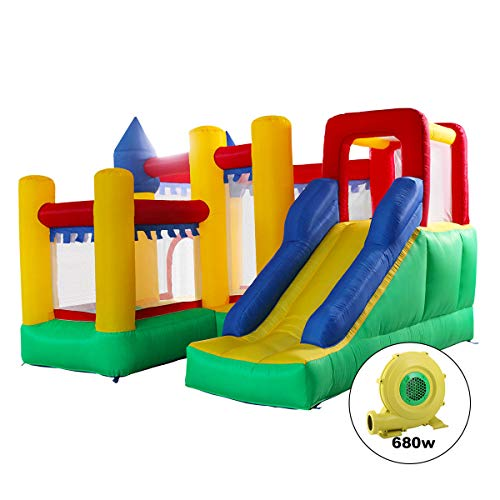 JAXPETY Mighty Inflatable Bounce House Castle Jumper Moonwalk Bouncer with Blower