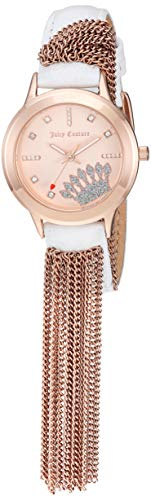 Juicy Couture Black Label Women's  Swarovski Crystal Accented Rose Gold-Tone and White Leather Strap Watch