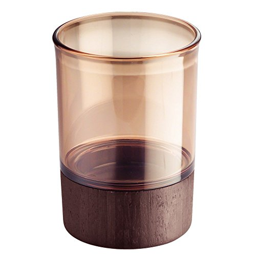 InterDesign Formbu Tumbler Cup for Bathroom Vanity Countertops - Amber/Espresso (Amber Cup)