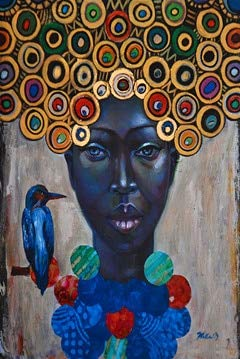 Huanlovely Abstract African Women Vintage Portrait Oil Painting on Canvas Art Scandinavian Posters and Prints Wall Picture for Living ()