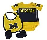 Outerstuff Baby NCAA Michigan Wolverines 3 Piece Creeper Set Booties Bib