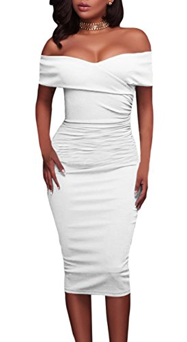made2envy Shoulder Bodycon Midi Dress (L, White) LC61507LW