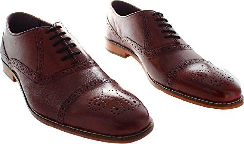 Gucinari  Amp-008, Chaussures de ville à lacets pour homme rouge Red