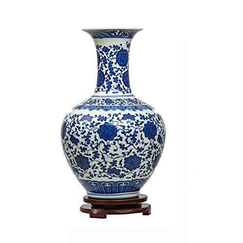 (Jingdezhen Bleu et Blanc Porcelaine Vase, Vase Chinois Vase Antique en Céramique,Vase Art Déco pour le Ménage, Bureau, Mariage, Fête)